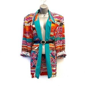 Vintage Abstract Multicolored Oversized Blazer